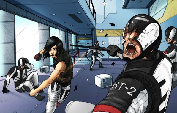 Picture girl, art, security, soldiers, Mirrors Edge 2