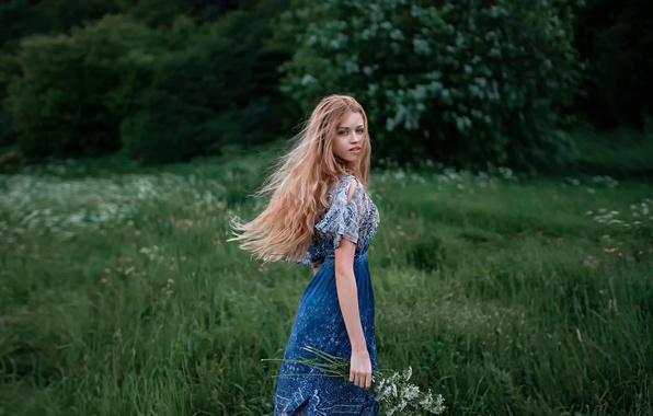 Picture look, flowers, nature, hair, dress, the beauty, Dasha, George Chernyadev