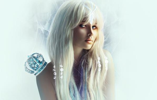 Picture eyes, look, girl, stones, background, crown, blonde, shoulders