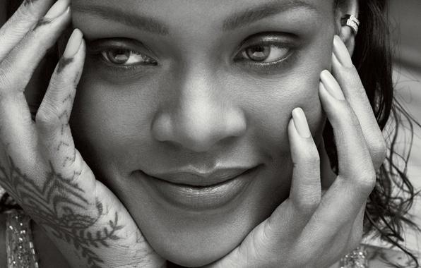 Picture close-up, face, smile, photo, model, hands, black and white, singer, Rihanna, Rihanna, Vogue, Marcus Piggott, …