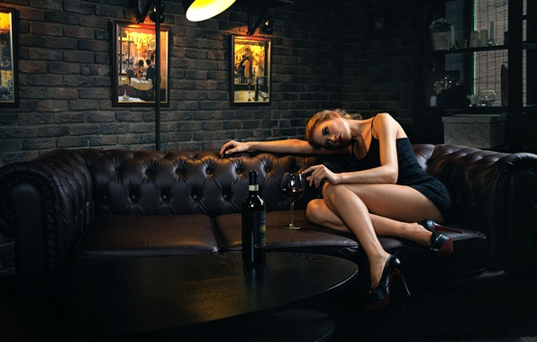 Picture girl, loneliness, sofa, wine, bottle, legs