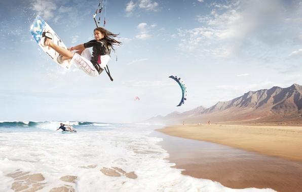 Picture waves, beach, mountains, foam, kitesurf