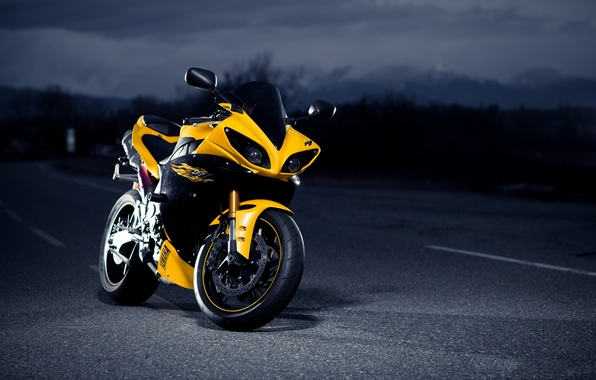 Picture road, night, yellow, black, Yamaha, black, road, yellow, night, Yamaha, Superbike, superbike
