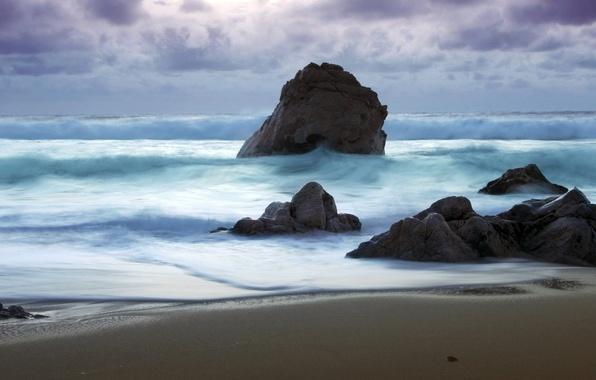 Picture sea, stones, shore, Wave