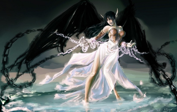Picture water, girl, wings, art, chain, league of legends, morgana, nfouque
