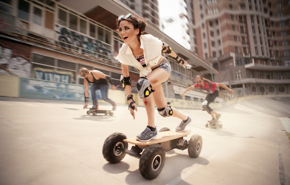 Picture girl, movement, sport, speed, protection, Board, skate, skateboard, knee pads, elbow pads, skateboarders