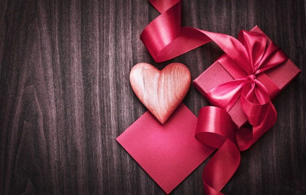 Picture background, holiday, box, gift, pink, heart, tape, heart, Valentine's day, Valentine's Day
