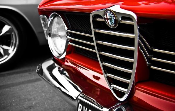 Photo wallpaper red, macro, red, Alfa Romeo, macro, Alfa Romeo, logo