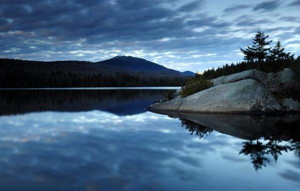 Picture forest, the sky, clouds, mountains, lake, reflection, stones