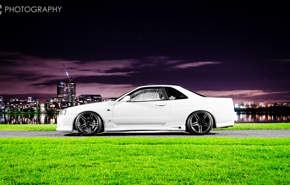 Picture white, night, the city, tuning, GT-R, Nissan, Nissan Skyline, R34, skyline