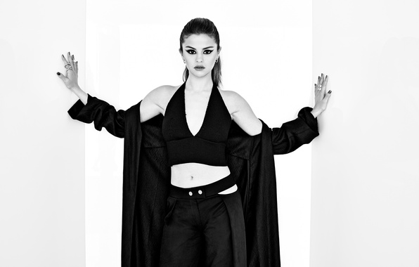Picture pose, makeup, actress, brunette, hairstyle, outfit, black and white, singer, photoshoot, Selena Gomez, Selena Gomez, …