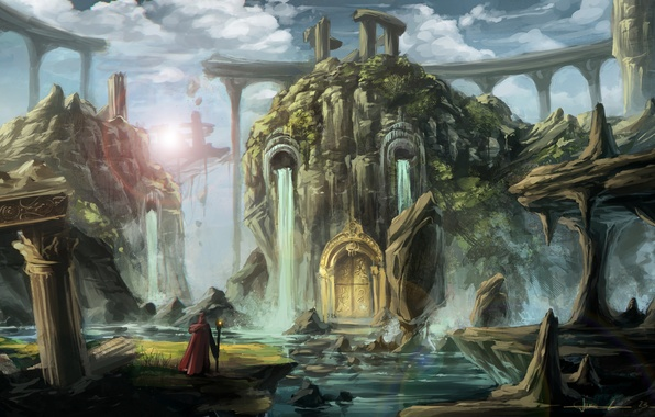 Picture water, lake, people, the door, art, ruins, waterfalls, fantasy world, entrance