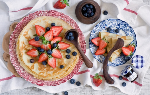 Picture berries, blueberries, strawberry, pancakes