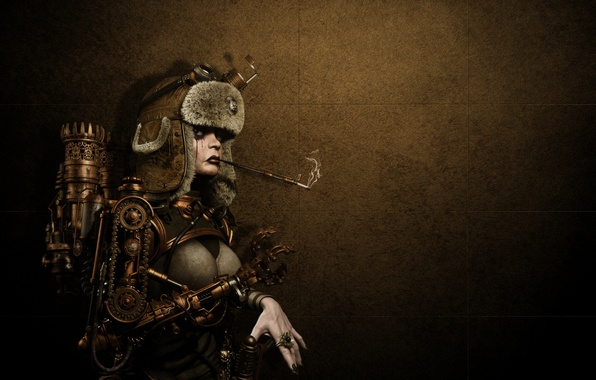 Picture girl, metal, background, hat, mechanism, robot, ring, steampunk, smokes