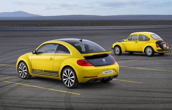 Picture Yellow, Retro, Volkswagen, Beetle, Two, GSR, Beatle