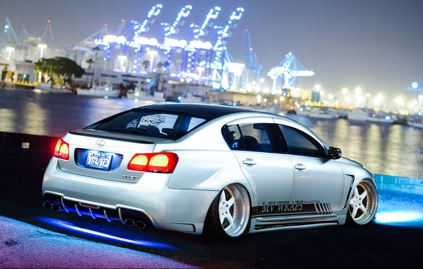 Picture car, night, tuning, tuning, Lexus, stance, Lexus GS300