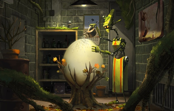 Picture life, fantasy, plant, Robot, Egg, Care