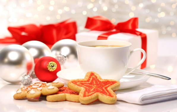 Picture winter, balls, lemon, tea, toys, cookies, Cup, gifts, sweets, cakes, holidays, Christmas