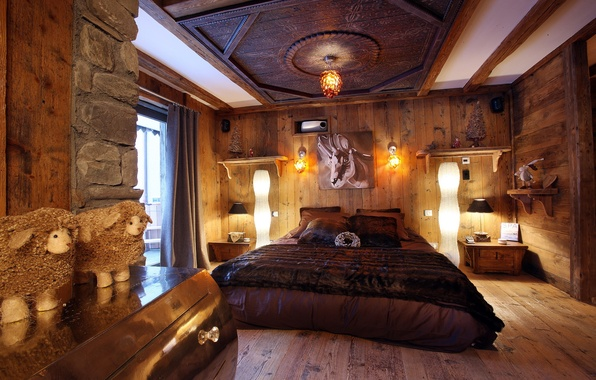 Picture design, photo, room, bed, interior, the ceiling, wooden, bedroom