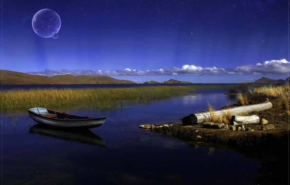 Picture lake, the moon, boat