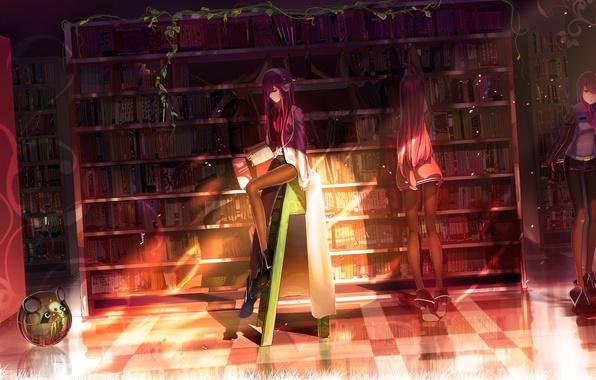 Picture girl, light, books, robot, headphones, library, steins gate, makise kurisu