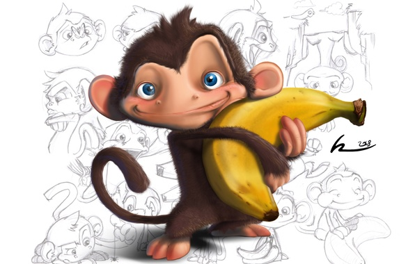 Picture monkey, drawings, white background, banana, baby Wallpaper