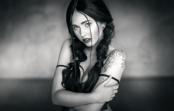 Picture look, girl, tattoo, braids, LAMACRA