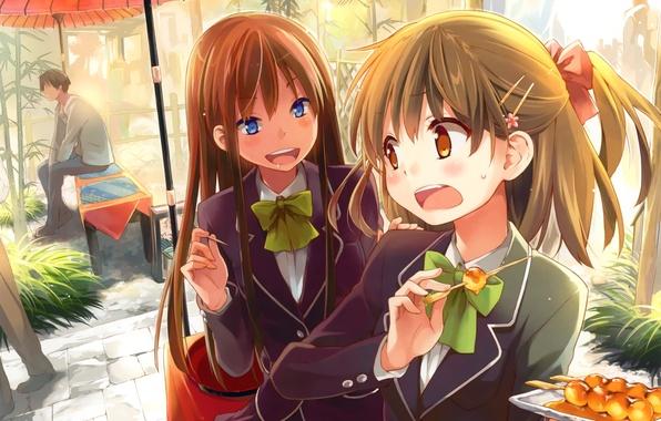 Picture girls, food, umbrella, anime, art, Schoolgirls, sitting, erect