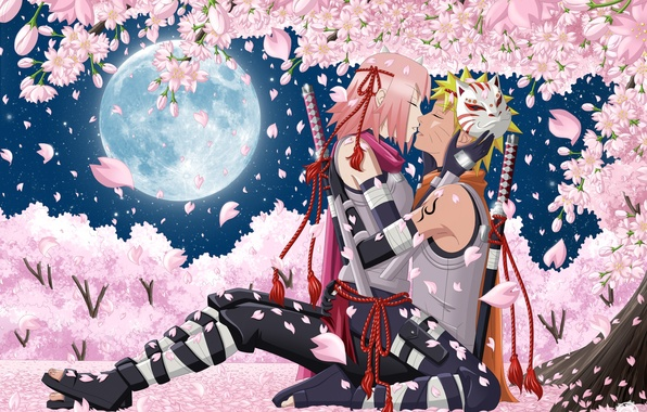 Picture the sky, girl, stars, trees, flowers, night, weapons, the moon, kiss, katana, anime, petals, Sakura, …