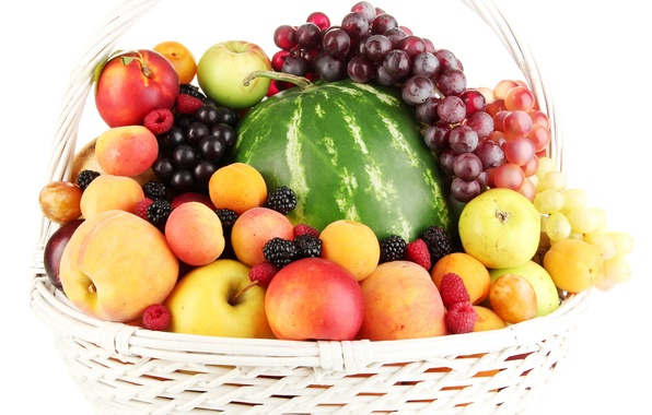 Picture berries, raspberry, basket, apples, watermelon, grapes, fruit, peaches, plum, BlackBerry, apricots, nectarine