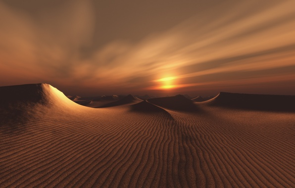 Picture the sun, the dunes, desert