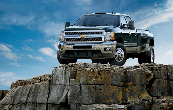 Picture machine, rocks, Chevrolet, auto wallpspers, chevrolet silverado