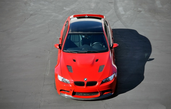 Picture asphalt, red, cracked, tuning, bmw, BMW, shadow, the hood, red, the view from the top, …