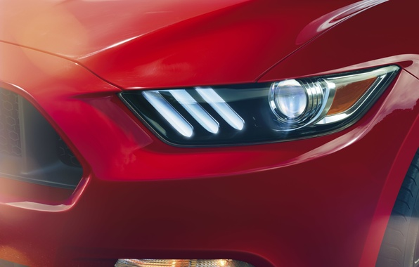 Picture red, Mustang, Ford, headlight, Mustang, before, red, muscle car, Ford, muscle car, front
