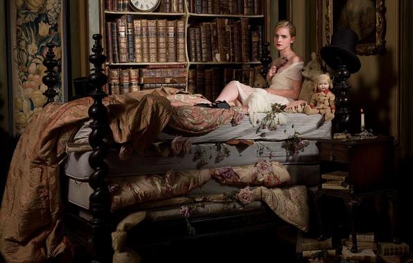 Picture watch, books, bed, interior, actress, large, beautiful, Emma Watson, Emma Watson, photoshoot, vintage, actress, the …