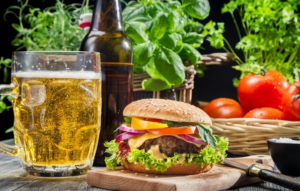 Picture greens, glass, beer, tomatoes, hamburger