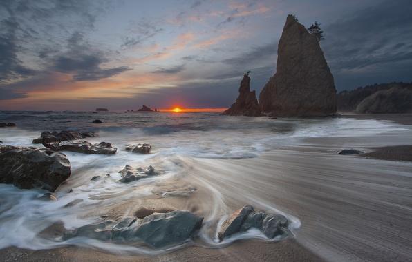 Picture sea, the sun, sunset, stones, rocks, threads