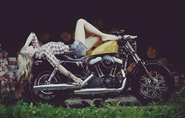 Picture girl, Harley, motorcycle, Harley Davidson, bike, legs, photo, Maxim Gurtovoy