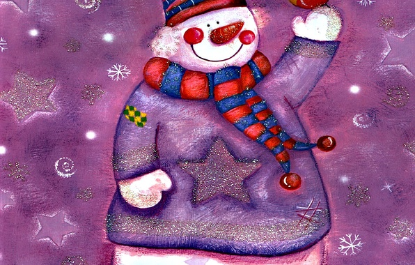 Picture winter, smile, figure, snowman, bird
