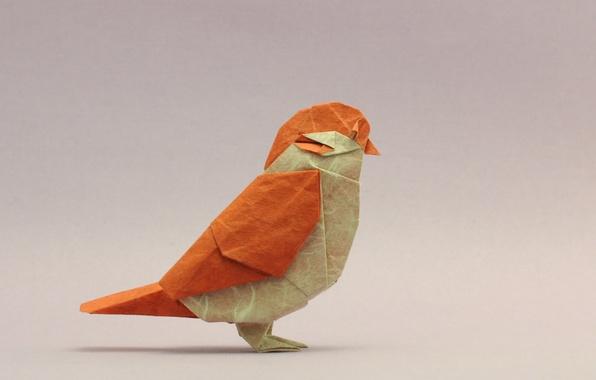 Picture bird, Sparrow, origami, bird, origami, sparrow