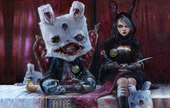 Picture eyes, table, surrealism, blood, monster, rabbit, mouth, knife, girl, plug, Alice, blind, the throne, smiley, …
