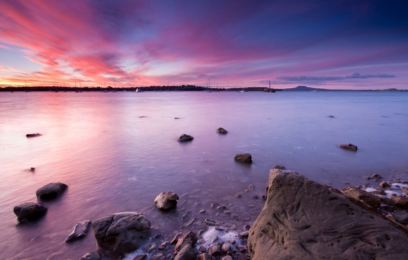 Picture sunset, New Zealand, Auckland, Moon Bay, Half