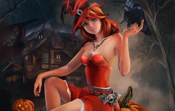 Picture girl, holiday, Halloween, pumpkin, Halloween, Raven, sitting