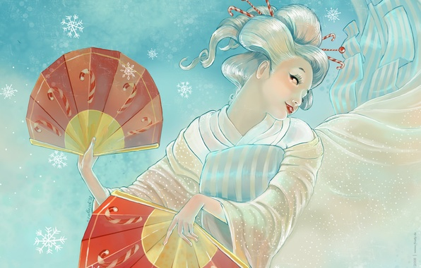 Picture Japanese, fan the snow