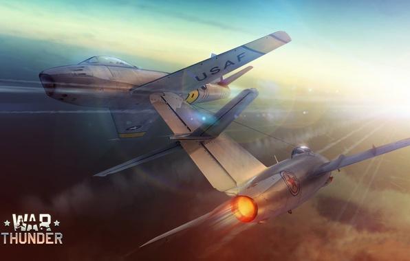 Picture The sky, Figure, The plane, fighter, Speed, Flight, Nose, ART, Korea, The MiG-15, Fagot, F-86, …