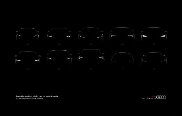 Picture machine, Audi, black background, lineup, Audi.