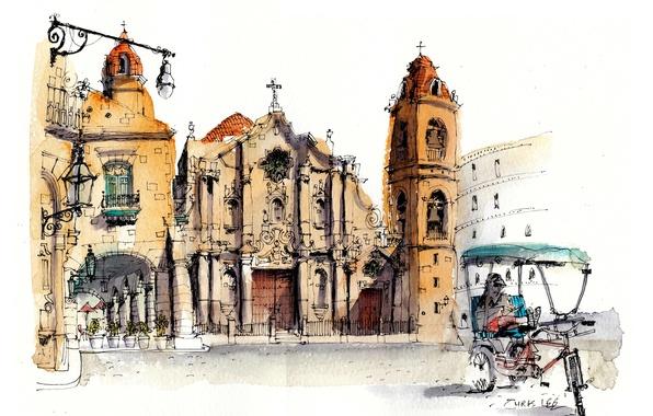 Picture street, paint, figure, home, Cathedral, Cuba, Havana