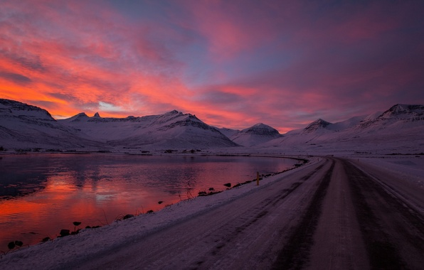 Picture winter, road, the sky, water, clouds, snow, sunset, mountains, nature, lake, reflection, river, background, red, …