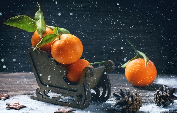 Picture winter, holiday, Board, new year, fruit, sleigh, bumps, tangerines
