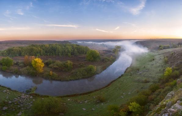 Picture the sky, trees, fog, stones, Ukraine, shrubs, the river Kalmius